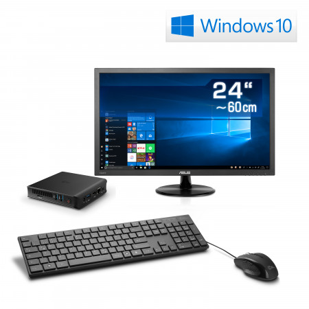 "Mini PC - CSL Narrow Box Ultra HD Compact v3 / Win 10 inkl. 24"" TFT"